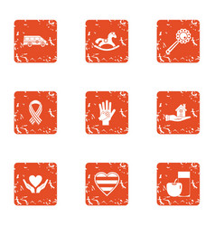 Give love icons set grunge style vector