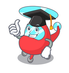 Graduation helicopter character cartoon style vector