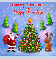 greeting card with christmas trees santa vector image
