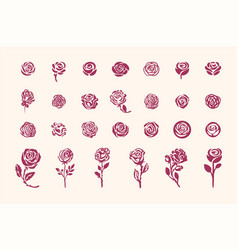 hand drawn rose symbol simple sketch vector image