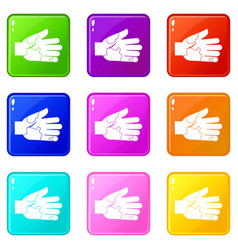 Hand with stains icons 9 set vector