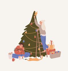 happy couple decorating christmas tree flat vector image
