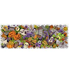happy halloween hand drawn cartoon doodles vector image