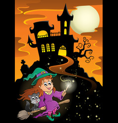 haunted mansion halloween theme vector image