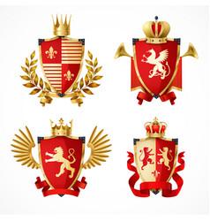 heraldic coat arms set vector image