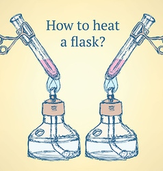 How to heat a flask in vintage style vector image