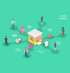 isometric flat concept cross channel vector image
