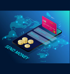 Isometric send money online money transfer vector