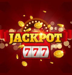 Jackpot 777 gambling poster design Money coins vector