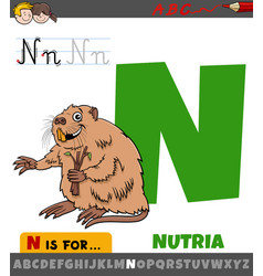 Letter n from alphabet with nutria animal vector