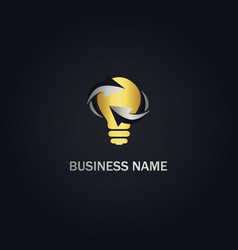 light bulb electric gold logo vector image