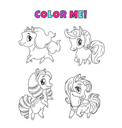 little cute cartoon pony set outline horses icons vector image