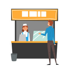 Man ordering and buying fast food and drinks in vector
