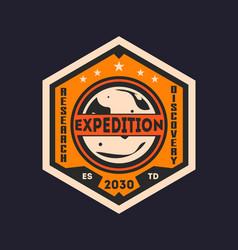 Martian scientific expedition vintage label vector
