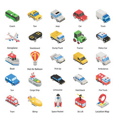 Means transportation in isometric style vector