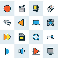 media colorful outline icons set collection of vector image