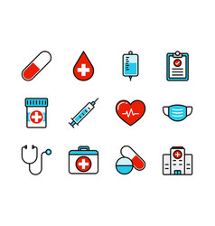medical and healthcare icon set colorline style vector image