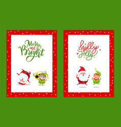 merry and bright cards with cartoon characters vector image