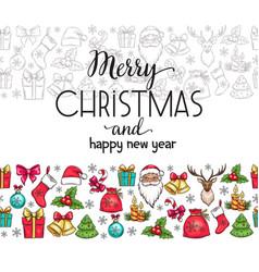 merry christmas holidays seamless border with vector image