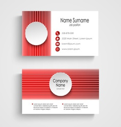 Modern red round business card template vector