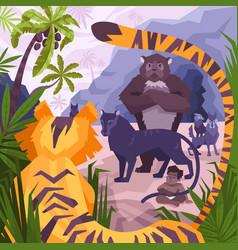 mowgli animals coloring composition vector image