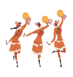 native american indian ritual dance three young vector image