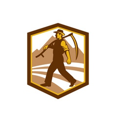 Organic Farmer Walking Holding Scythe Retro vector
