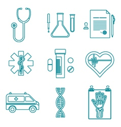 Outline medical icons set vector
