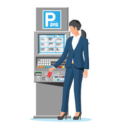 Parking meter and woman isolated on white vector
