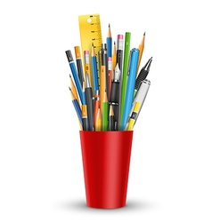 Pen and pencils in glass vector image