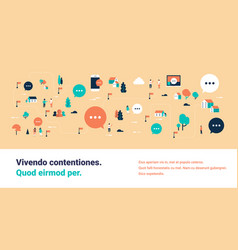 people online bubble chat speech communication map vector image
