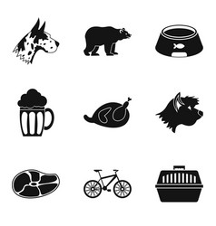 Pet animal icons set simple style vector