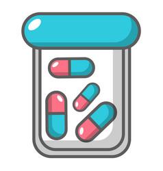 Plastic tablet jar icon cartoon style vector