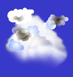 realistic and cartoon clouds in the blue sky vector image