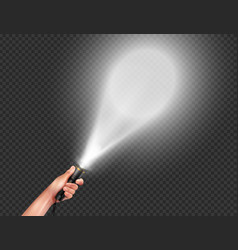 realistic flashlight in hand composition vector image
