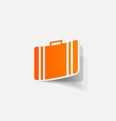 Realistic paper sticker suitcase vector