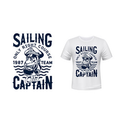 sailing captain t-shirt print mockup vector image