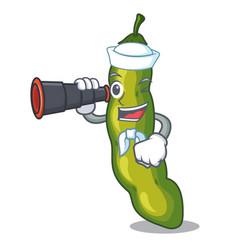Sailor with binocular cartoon fresh green beans vector
