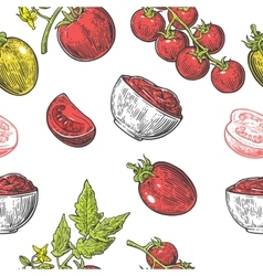 Seamless pattern with Tomato half slice and vector