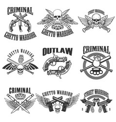 Set of outlaw criminal street warrior emblems vector