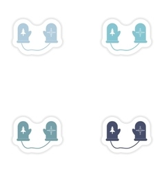 Set of paper stickers on white background mittens vector