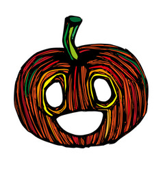 single sketch pumpkin paint hand drawn vector image
