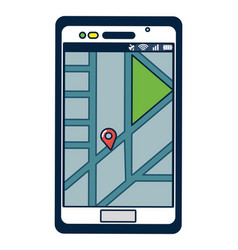Smartphone with gps location vector
