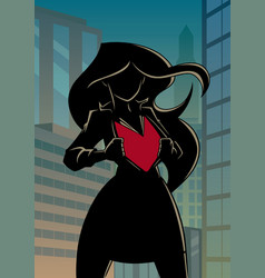 superheroine under cover in city silhouette vector image