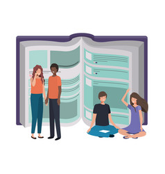 text book with group people icon vector image