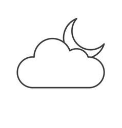 Thin line crescent moon icon vector