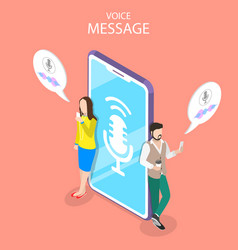 Voice message isometric flat conceptual vector