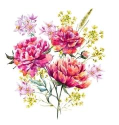 Watercolor peony vector image