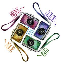 Watercolor set of multicolor vintage reflex vector