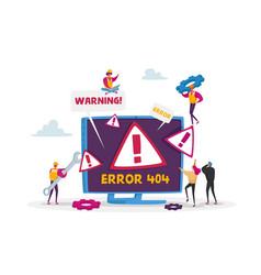website error 404 page with tiny characters vector image